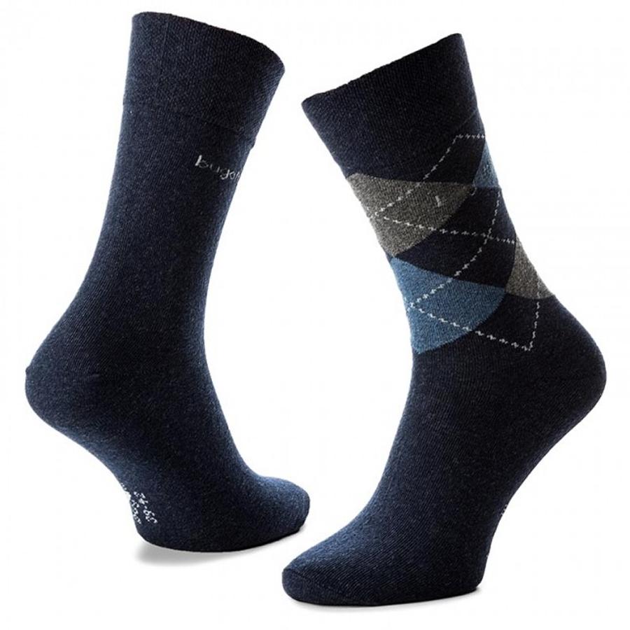 6776 PÁNSKÉ PONOŽKY VYŠŠÍ 2PÁRY BUGATTI NAVY - Pánské - Ponožky - Vzorované b16ed94424